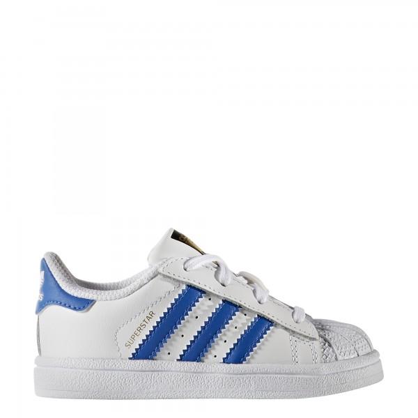 adidas Unisex-Kinder-Schuhe Superstar I FTWWHT/BLUE/FTWWHT 21