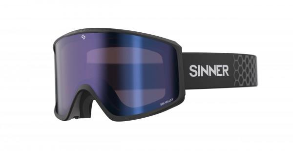 Schneebrille Sinner Sin Valley Polarized + Ersatzglas Goggles Herren Matte Black Blue Mirror