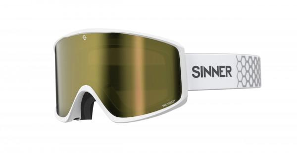 Schneebrille Sinner Sin Valley + Ersatzglas Goggles Herren Matte White Gold Mirror